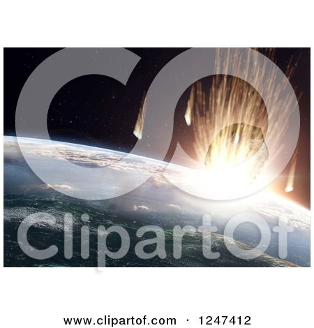 Clipart of a 3d Asteroid Smashing into Earth - Royalty Free Illustration by Mopic
