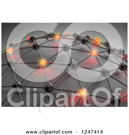 Clipart of a 3d Mesh Network Globe with Some Glowing Orbs - Royalty Free Illustration by Mopic
