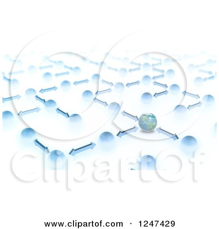 Clipart of a 3d Network of Earth, Globes and Arrows - Royalty Free Illustration by Mopic