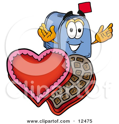 Blue Postal Mailbox Cartoon Character With an Open Box of Valentines Day Chocolate Candies Posters, Art Prints