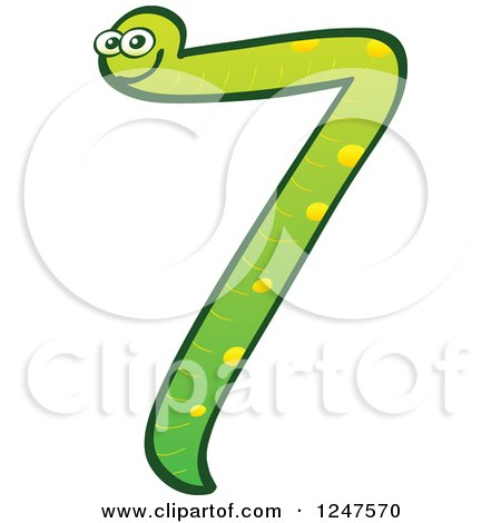 Clipart of a Green Number 7 Snake - Royalty Free Vector Illustration by Zooco
