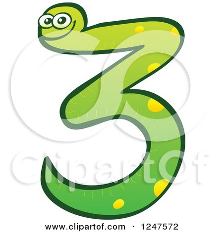 Clipart of a Green Number 3 Snake - Royalty Free Vector Illustration by Zooco