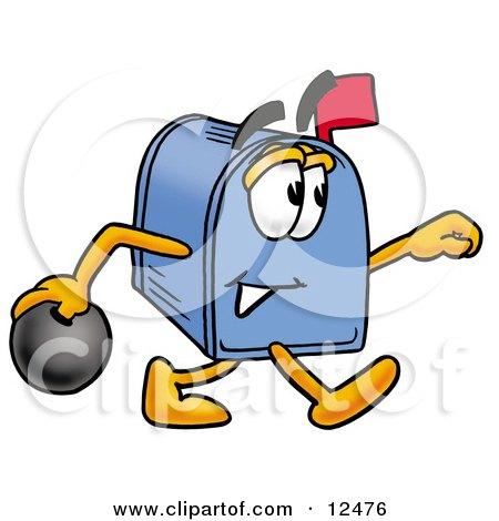 Blue Postal Mailbox Cartoon Character Holding a Bowling Ball Posters, Art Prints
