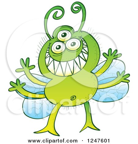 Clipart of a Grinning Green Alien Fly Bug - Royalty Free Vector Illustration by Zooco