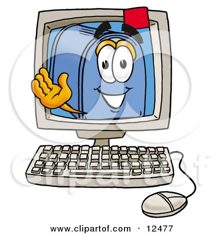 Blue Postal Mailbox Cartoon Character Waving From Inside a Computer Screen Posters, Art Prints