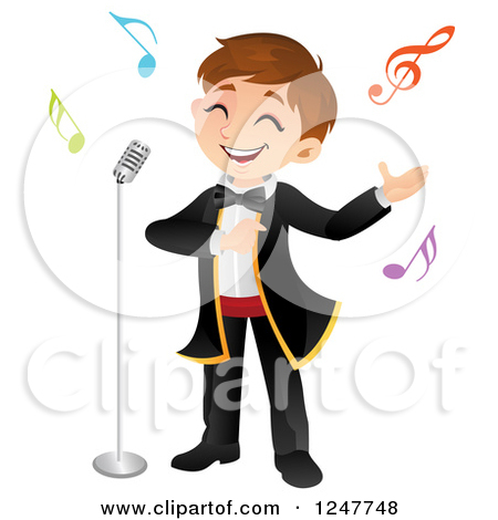 Clipart of a Boy Singing Opera - Royalty Free Vector Illustration ...