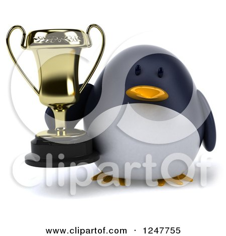 Clipart of a 3d Penguin Holding a Trophy Cup - Royalty Free Illustration by Julos