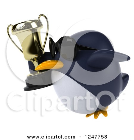 Clipart of a 3d Penguin Wearing Sunglasses Flying with a Trophy Cup 2 - Royalty Free Illustration by Julos