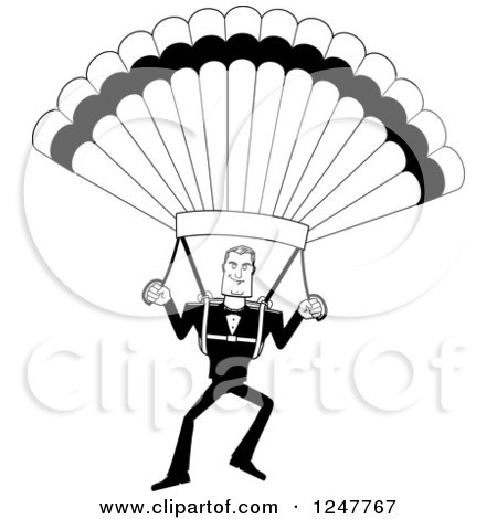Clipart of a Black and White Male Parachuting - Royalty Free Vector Illustration by Cory Thoman