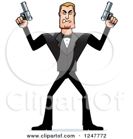 Clipart of a Blond Caucasian Male Spy Holding up Two Pistols - Royalty Free Vector Illustration by Cory Thoman
