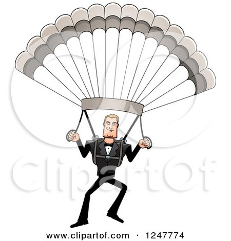 Clipart of a Blond Caucasian Male Parachuting - Royalty Free Vector Illustration by Cory Thoman
