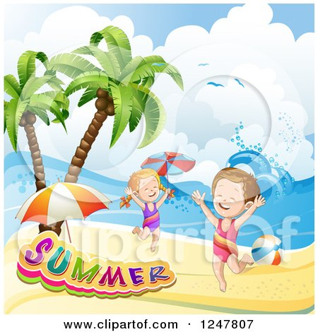 Clipart of a Energetic Children Playing on a Tropical Beach with a Summer Banner - Royalty Free Vector Illustration by merlinul