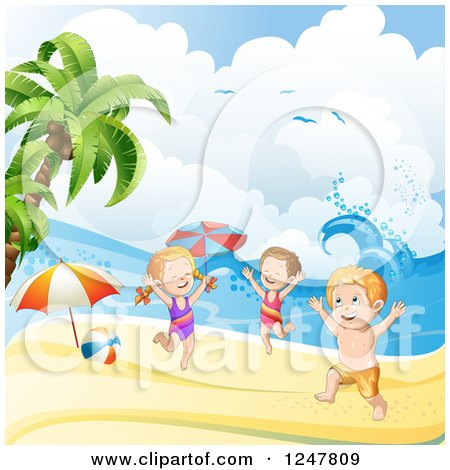 Clipart of a Energetic Children Playing on a Tropical Beach - Royalty Free Vector Illustration by merlinul