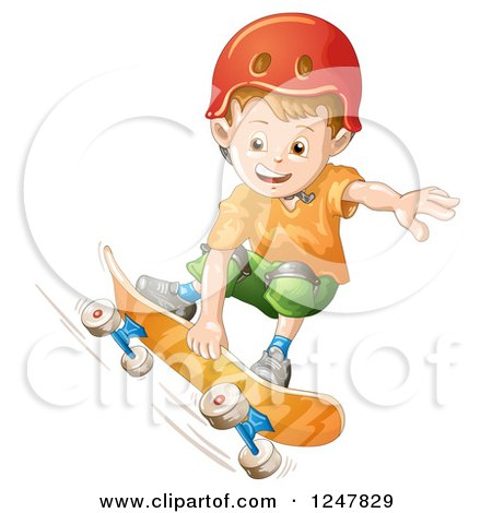 Clipart of a Boy Skateboarding in a Red Helmet - Royalty Free Vector Illustration by merlinul