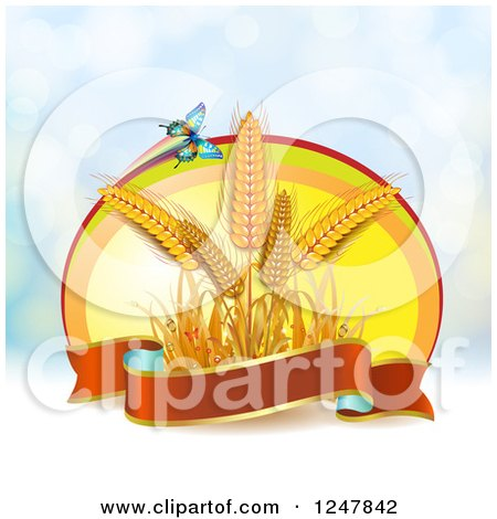 Clipart of a Butterfly and Wheat with a Ribbon Banner over Flares - Royalty Free Vector Illustration by merlinul