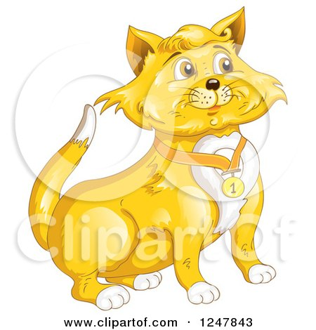 Clipart of a Ginger Cat in a Number One Collar - Royalty Free Vector Illustration by merlinul