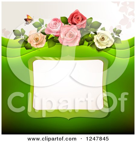 Clipart of a Green Wedding Floral Background with Roses and a Frame - Royalty Free Vector Illustration by merlinul