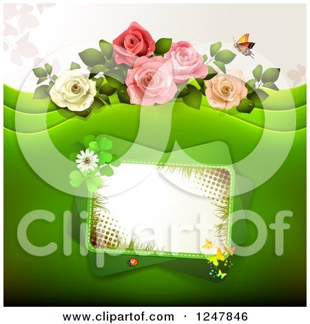 Clipart of a Green Wedding Floral Background with Roses and a Tilted Frame - Royalty Free Vector Illustration by merlinul