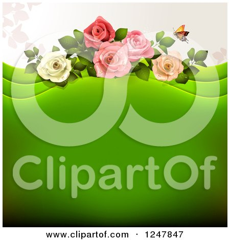 Clipart of a Green Wedding Floral Background with Roses - Royalty Free Vector Illustration by merlinul