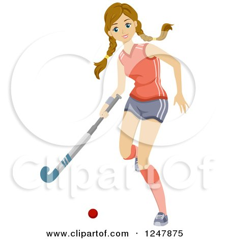 Clipart of a Teen Girl Playing Field Hocky - Royalty Free Vector Illustration by BNP Design Studio