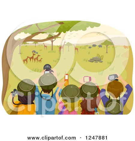 Clipart of a Rear View of Teenagers Taking Pictures on a Safari Tour - Royalty Free Vector Illustration by BNP Design Studio