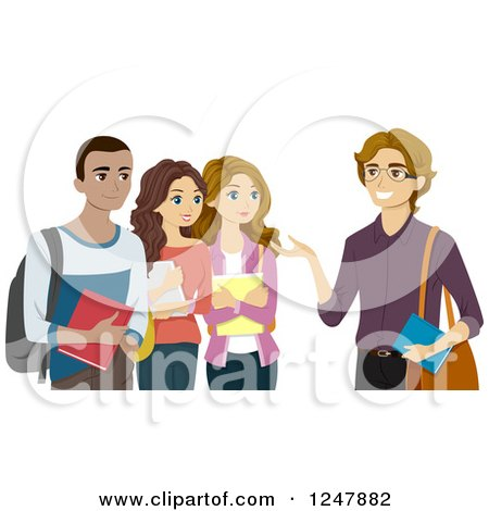 Clipart of a Group of Teenagers Talking with Their Teacher - Royalty Free Vector Illustration by BNP Design Studio