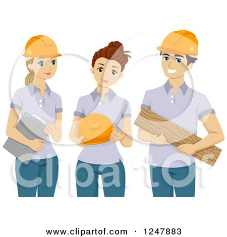 Clipart of Male and Female Volunteers with Safety Gear - Royalty Free Vector Illustration by BNP Design Studio
