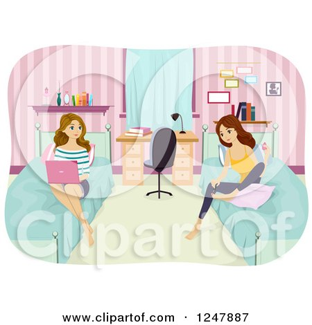 Clipart of Young Women Painting Their Nails and Using a Laptop in a Dorm Room - Royalty Free Vector Illustration by BNP Design Studio