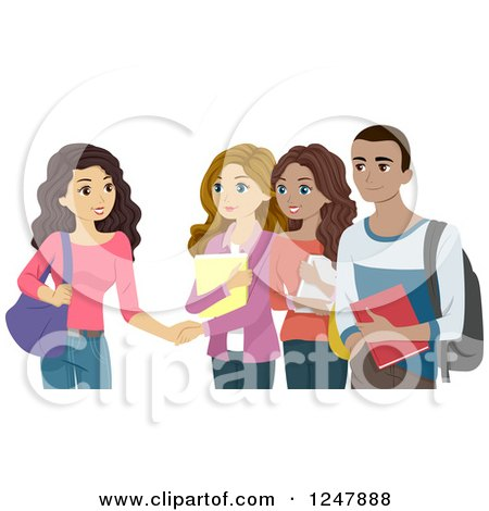 Clipart of College People Meeting Each Other - Royalty Free Vector Illustration by BNP Design Studio