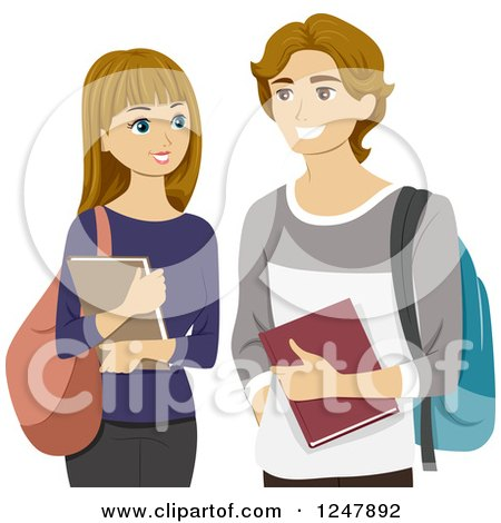 Clipart of a Young High School Couple Smiling - Royalty Free Vector Illustration by BNP Design Studio