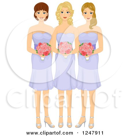 Clipart Happy Bride Posing With Her Bridesmaid And Flower