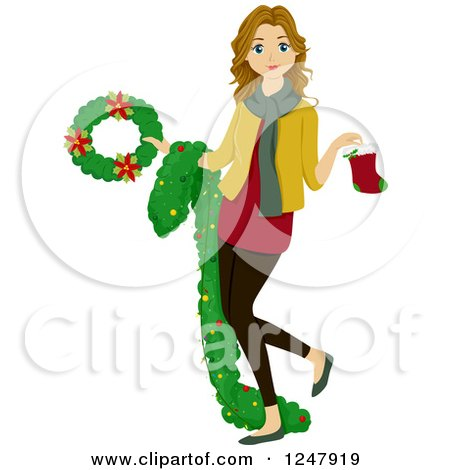 Clipart of a Teenage Girl Holding Christmas Decorations - Royalty Free Vector Illustration by BNP Design Studio