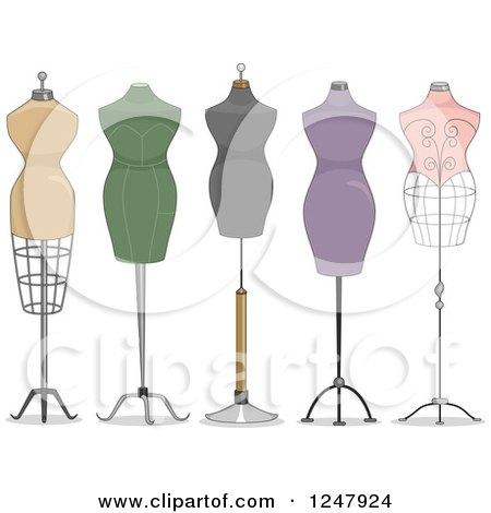 Clipart of Fashion Design Mannequins - Royalty Free Vector Illustration by BNP Design Studio