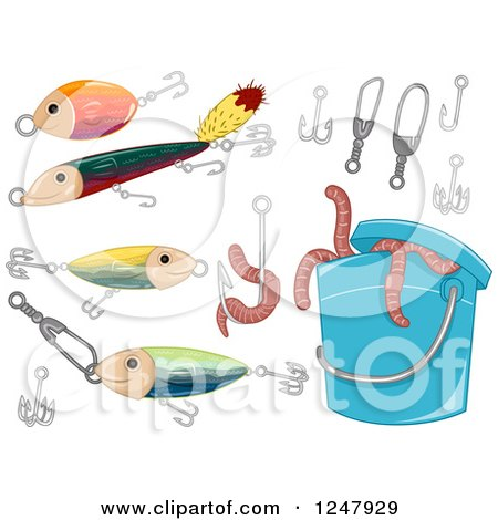 Clipart of a Can of Worms and Fishing Items - Royalty Free Vector Illustration by BNP Design Studio