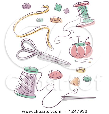 Clipart of Sketched Sewing Items - Royalty Free Vector Illustration by BNP Design Studio