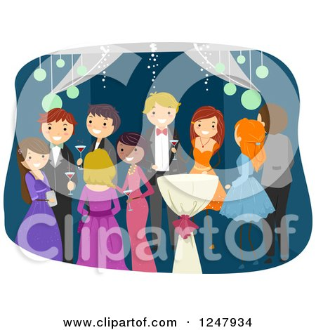 Clipart of Teenagers Socializing at Prom - Royalty Free Vector Illustration by BNP Design Studio