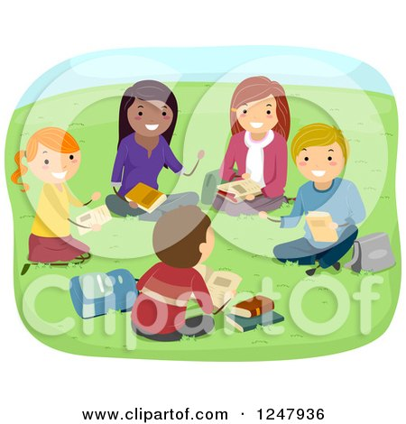 Clipart of Teenage Students Discussing Books in a Park - Royalty Free Vector Illustration by BNP Design Studio