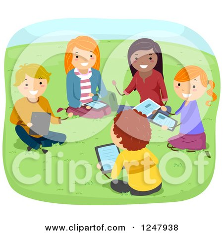 Clipart of Teenage Students Studying and Using a Tablet in a Park - Royalty Free Vector Illustration by BNP Design Studio