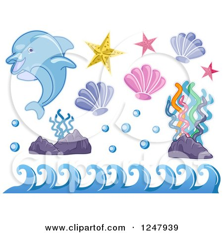 Clipart of a Dolphin with Waves Corals and Shells - Royalty Free Vector Illustration by BNP Design Studio