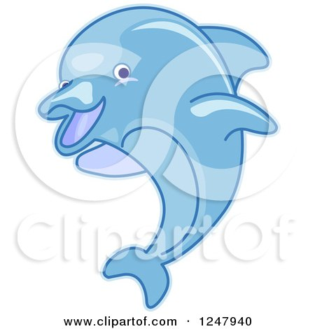 Clipart of a Leaping Blue Dolphin - Royalty Free Vector Illustration by BNP Design Studio