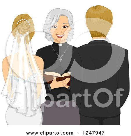Clipart of a Rear View of a Clergy Woman Marrying a Blond Caucasian Couple - Royalty Free Vector Illustration by BNP Design Studio