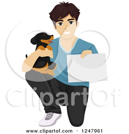 1247961-Clipart-Of-A-Teenage-Guy-Kneeling-With-A-Puppy-And-A-Certificate-Or-Sign-Royalty-Free-Vector-Illustration.jpg