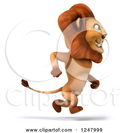 Clipart of a 3d Lion Running Upright - Royalty Free Illustration by Julos