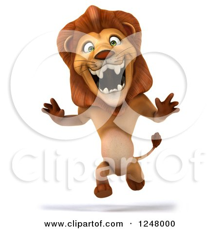 Clipart of a 3d Lion Running Upright 2 - Royalty Free Illustration by Julos