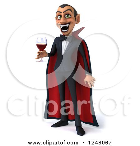 Clipart of a 3d Dracula Vampire Holding Wine or Blood - Royalty Free Illustration by Julos