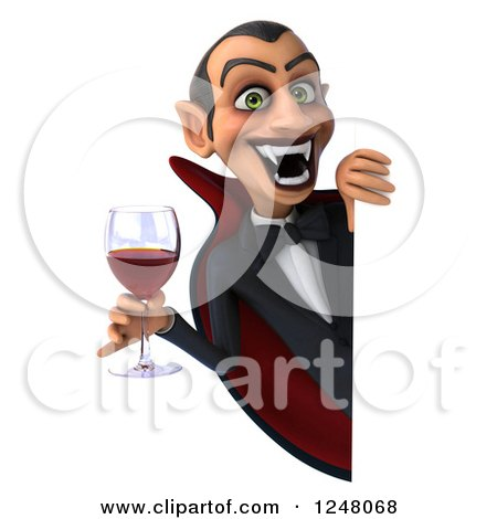 Clipart of a 3d Dracula Vampire Holding Wine or Blood Around a Sign - Royalty Free Illustration by Julos
