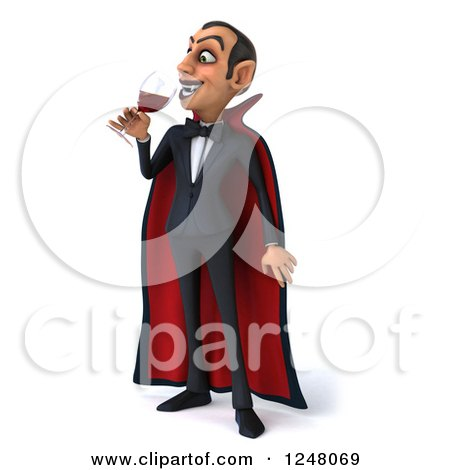 Clipart of a 3d Dracula Vampire Drinking Wine or Blood - Royalty Free Illustration by Julos