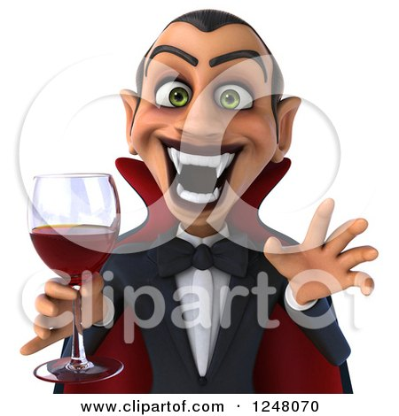 Clipart of a 3d Dracula Vampire Holding Wine or Blood Cropped from the Torso up - Royalty Free Illustration by Julos