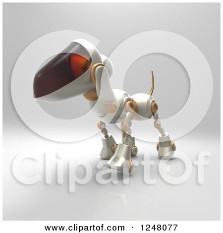 Clipart of a 3d Robot Dog Walking 6 - Royalty Free Illustration by Julos