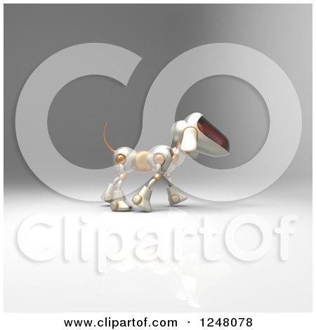 Clipart of a 3d Robot Dog Walking 7 - Royalty Free Illustration by Julos